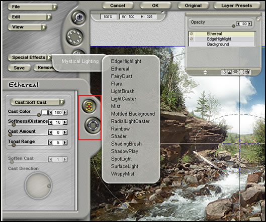 The screen capture shows the functions available for use in Mystical Lighting. As I stated it does more than the name implies.The layers below are called ... : mystical lighting - azcodes.com