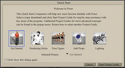 Poser 7 has a quick start guide and a project guide under the windows